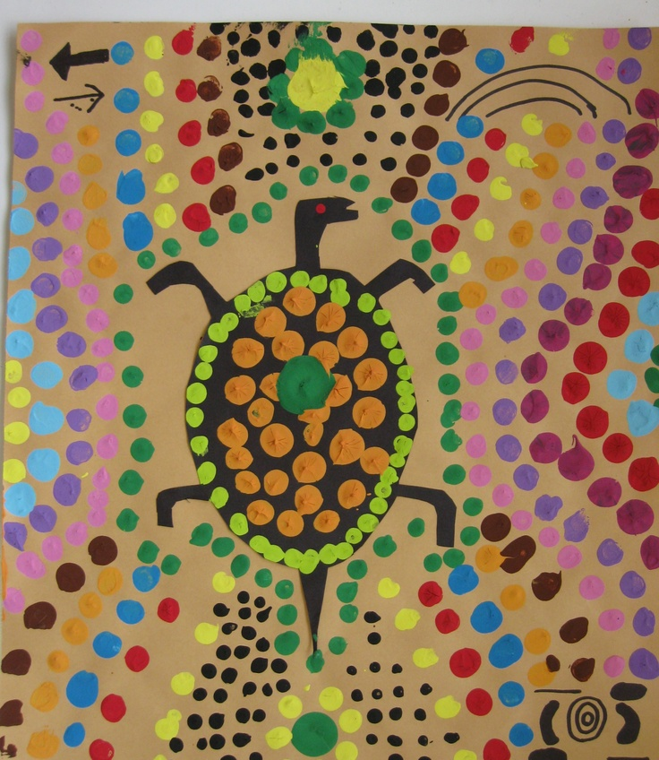 """Ms Maggie Mo's Australian Aboriginal art lesson: students draw hand or animal on black paper, cut out, glue to brown paper. Make dots with sticks. Takes 4 to 5 art classes. Unity, variety, contrast, emphasis. Narrative art (symbols tell a """"story"""")"""
