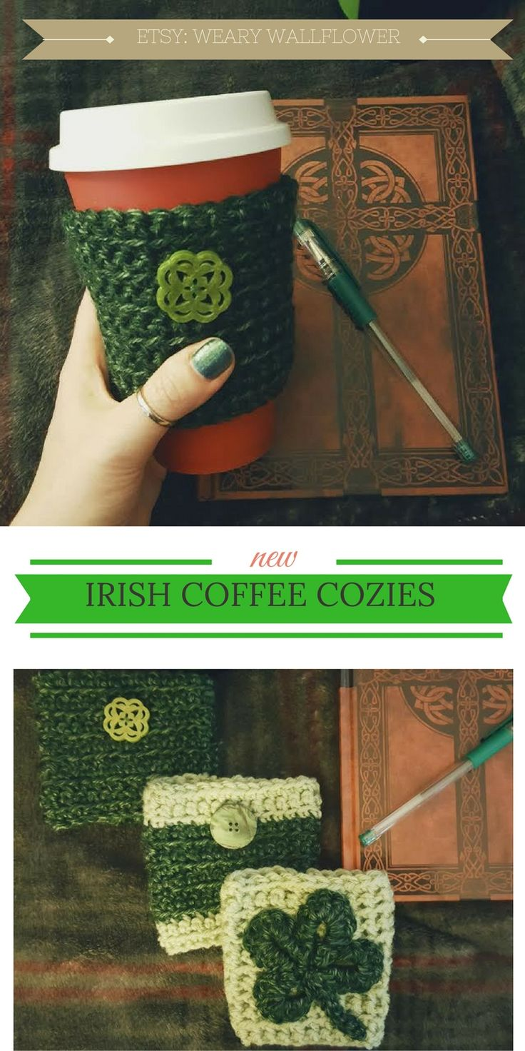 Check out these cute Irish coffee cozies / sleeves for St. Patrick's Day! Celebrate your love for all things Ireland and Celtic with these coffee and tea accessories!  *This pin will send you to my Etsy store via an affiliate link*