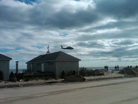 Government helicopter surveys our beach area after Superstorm Sandy.