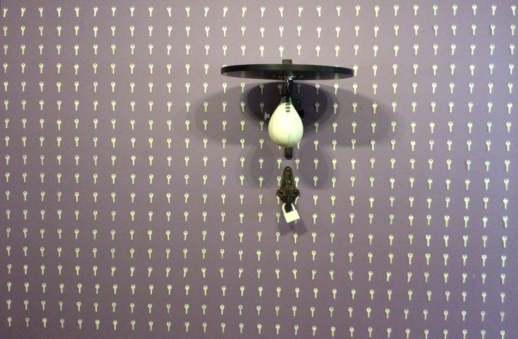 "#IranianArtists ""I will set a key in front of your key, To build a lock, Out of you"" By Zorvan 2017 Genre: Installation Medium: Key, Lock, Pear Ball Location: 'Human is The Difficulty of Duty' Group MultiMedia Exhibition, Dena Gallery, Tehran, Iran CopyRight: Fair Use كليدي در برابر كليدت ميگذارم، تا از تو قفلي بسازم از زُروان ١٣٩٦ ژانر: چيدمان تكنيك: كليد، قفل، ميت گلابي محل نگهداري اثر: نمايشگاه گروهي مولتي مديا 'انسان دشواري وظيفه است'، نگارخانه دنا، تهران، ايران حق تكثير: استفاده منصفانه"