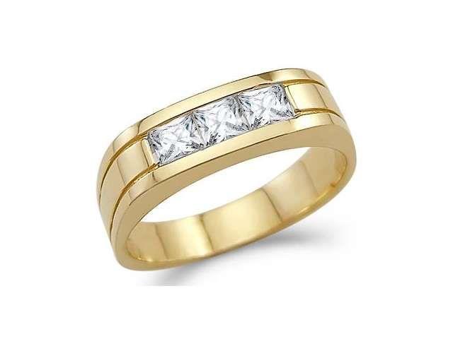 3 Stone Cz Mens Wedding Ring 14k Yellow Gold Band Cubic Zirconia 1