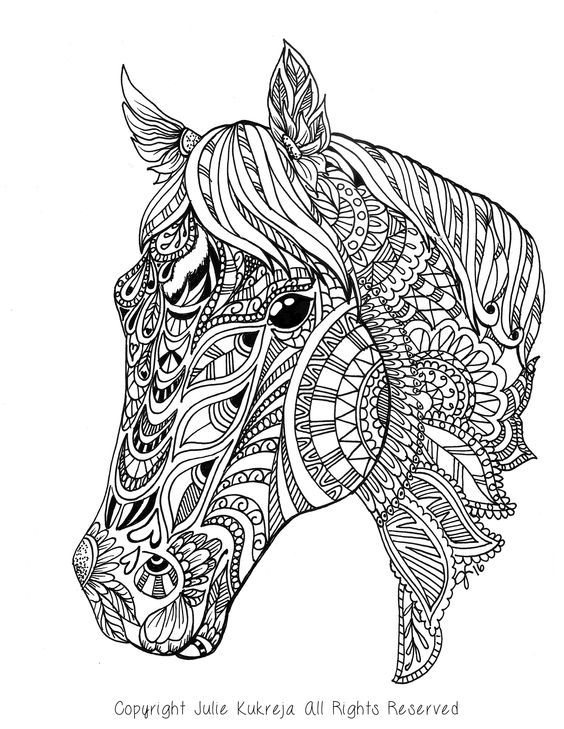 Adult Coloring Pages Sheets Books Abstract Horse Crafts