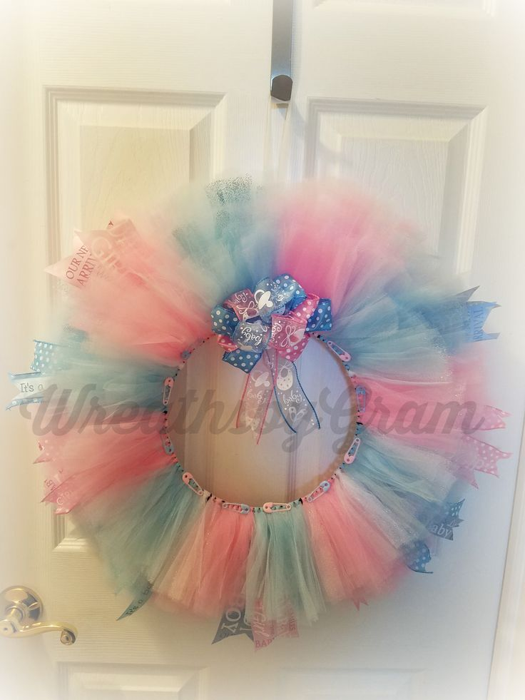 Boy or Girl?  What will it be?  Keep 'em guessing with this beautiful baby blue and pastel pink wreath.  Baby Gender Reveal Party Ideas; Baby Wreath; Gender Reveal Decorations;  Pink or Blue Gender Reveal; Gender Reveal Ideas for Party; Gender Reveal Ideas; Baby Gender Prediction; Baby Gender Reveal Ideas; Boy or Girl Prediction; Boy or Girl Gender Reveal
