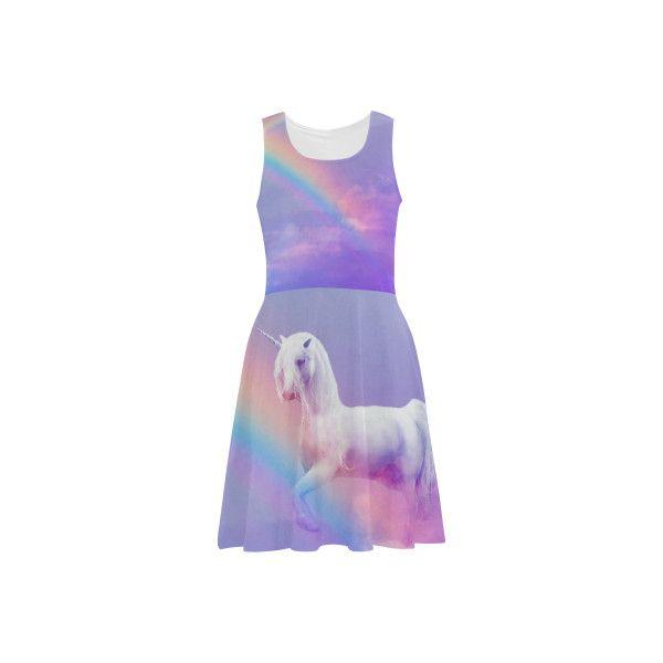 Unicorn and Rainbow Sundress (89 BRL) ❤ liked on Polyvore featuring dresses, purple dress, summer dresses, purple sun dress, rainbow dress and sundress dresses