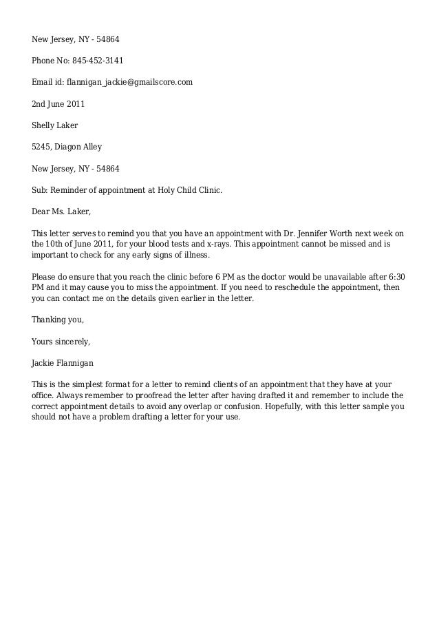 letter for appointment reminder jackie flannigan darthmouth - bank reference letter