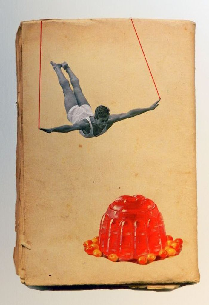 Collage and thread on a book cover, by Hagar Vardimon. I am not even sure why I adore this so much.