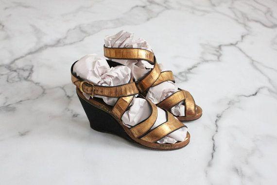 cunei di 1930s oro scarpe vintage 30s dimensioni di allencompany