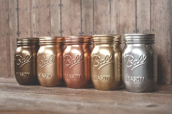 Painted mason jars with shiny metallic spray paint. Bronze, light rose gold, copper, silver, and yellow gold. Krylon and Rust-oleum.