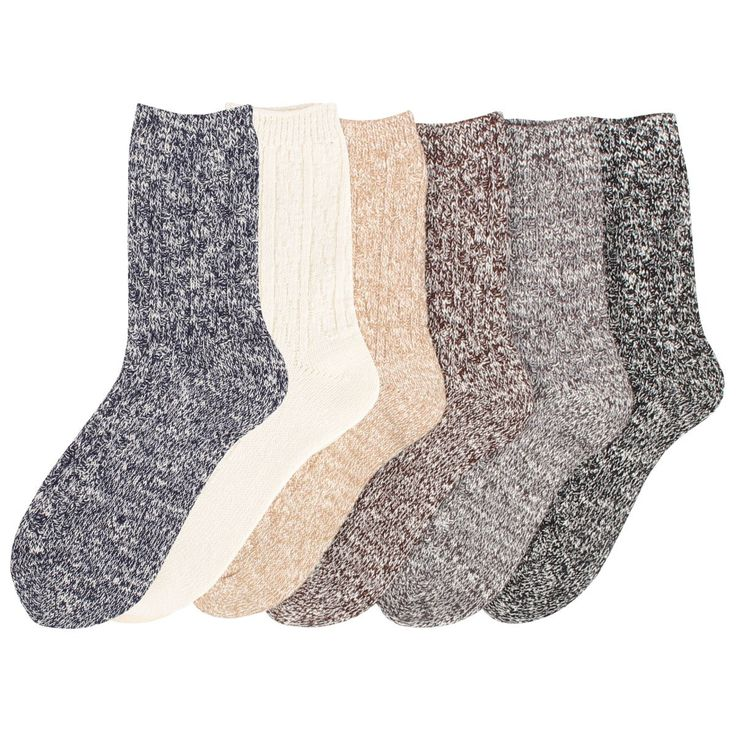 Women's 6 Pack Wool Color Fashion Warm Thick Thermal Crew Quarter Winter Socks