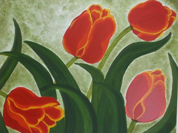 Tulipani rossi -  Red tulips Quadro composto da due tavole cm. 50 x 50