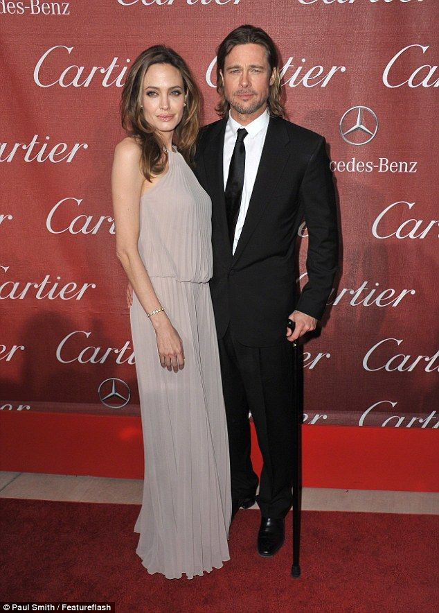 Her great love: Here the Oscar winner is seen with Brad at the 2012 Pal Springs Film Festi...