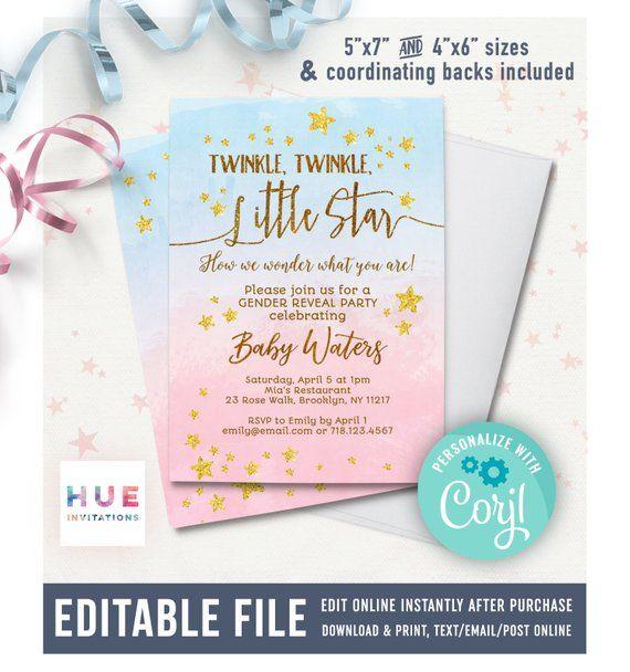 Twinkle Twinkle Little Star Gender Reveal Invitation Editable Etsy Gender Reveal Invitations Editable Invitations Twinkle Twinkle Little Star