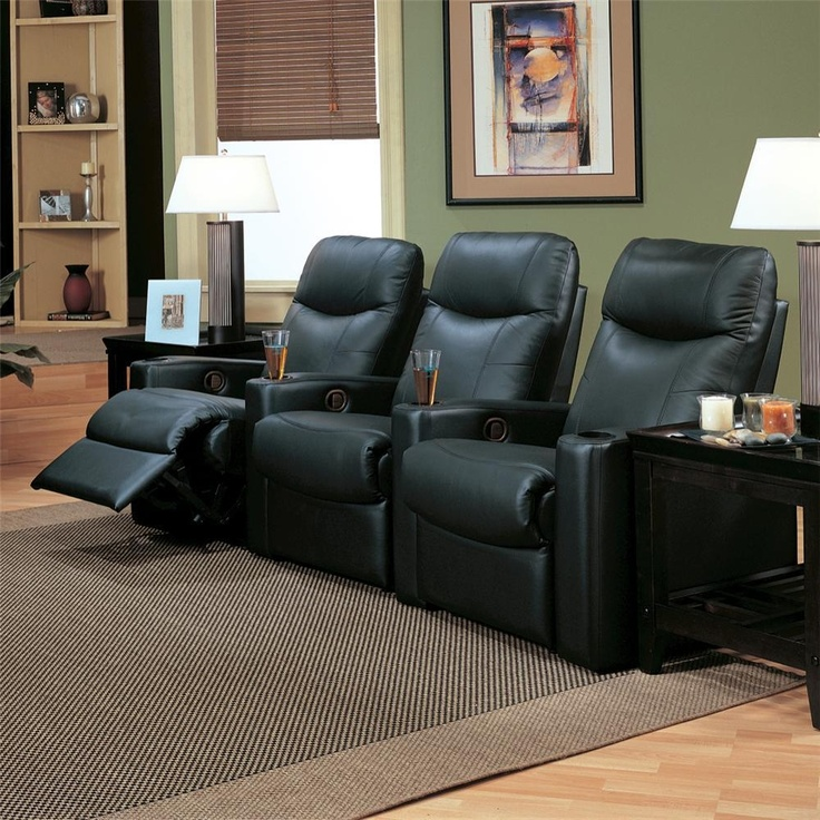 The Showtime Collection Upholstered Reclining Theater Group Black leather is three casual contemporary reclining chairs feature sleek track arms with convenient built in beverage holders, high split back cushions, and deep pad over chaise seats for full body support