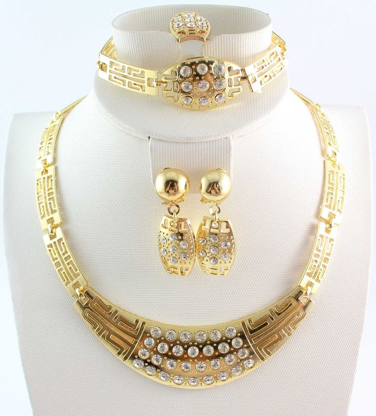 Free Shipping Latest Fashion Romantic Bridal Gold Plated Clear Crystal Rhinestone Necklace Jewelry Set For Women  Price: US $25.89  Sale Price: US $6.21  #dressional