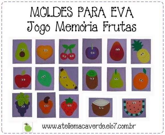 Molde Risco Jogo Memoria Frutas Ateliê Maçã Verde 13a60c
