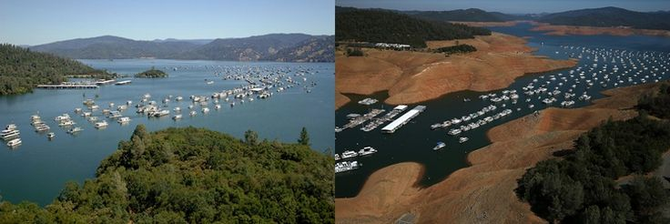 Lake Oroville - California drought - water levels affect boats - 2011 & 2014