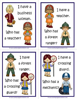 Kids love the game I Have Who Has. Here's an edition with community helpers. Print, cut apart, and pass one out to each student. They'll have to keep their eyes on the pictures and be good listeners to see if their community helper is called next!