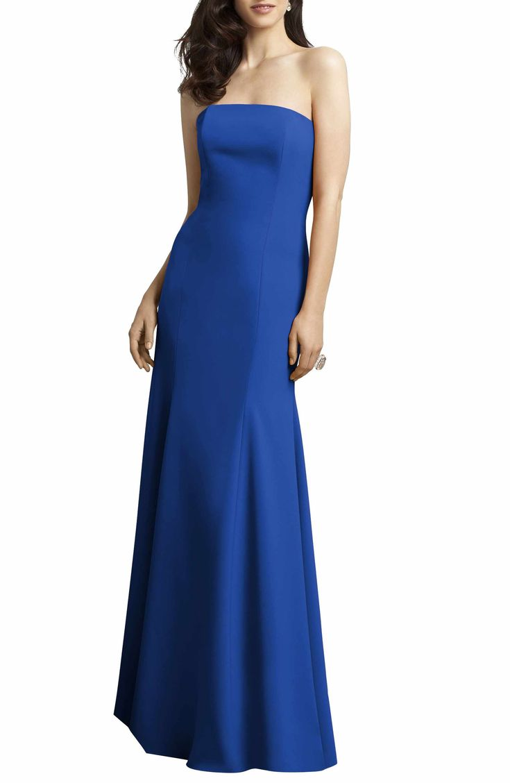 Main Image - Dessy Collection Strapless Crepe Trumpet Gown