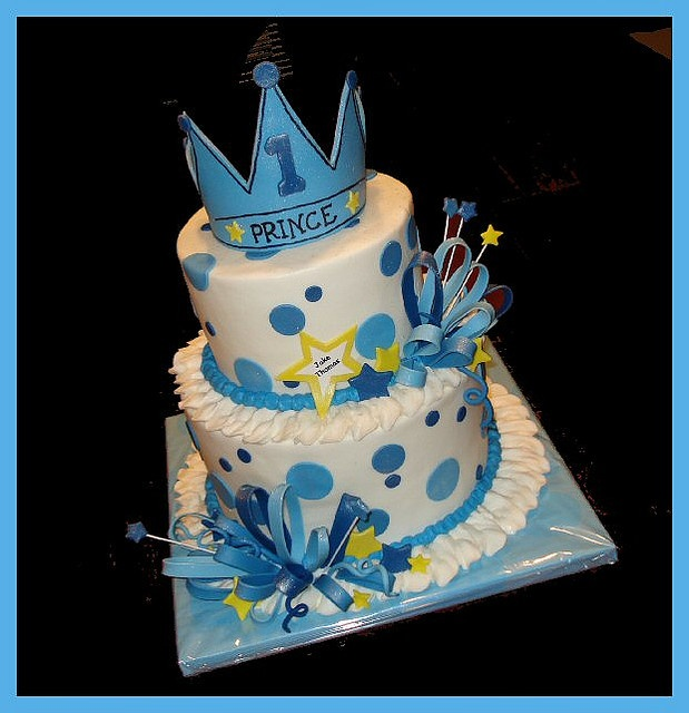 """Cake for Owen's first """"lil prince"""" birthday party."""