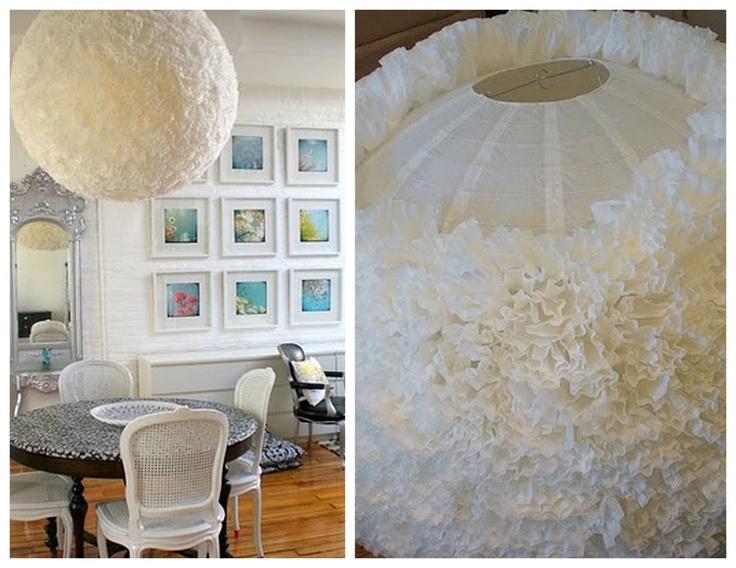 made from coffee filters and a paper lantern
