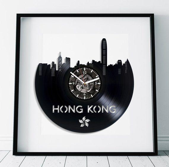 Hong Kong City Gift Retro Wall Clock Large Vintage Vinyl Record Birthday Modern China