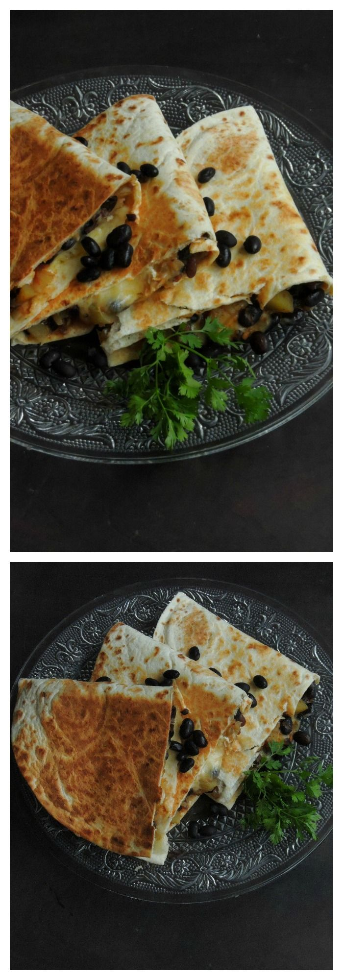 Cheesy Black Beans & Potato Quesadillas