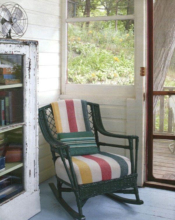 green wicker & hudson bay blankets