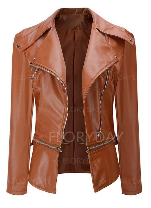 137182884323e Coats -  59.99 - Long Sleeve Collar Buttons Zipper Leather Coats  (1715328353)   cuir femme   Blouson, Veste, Manteau