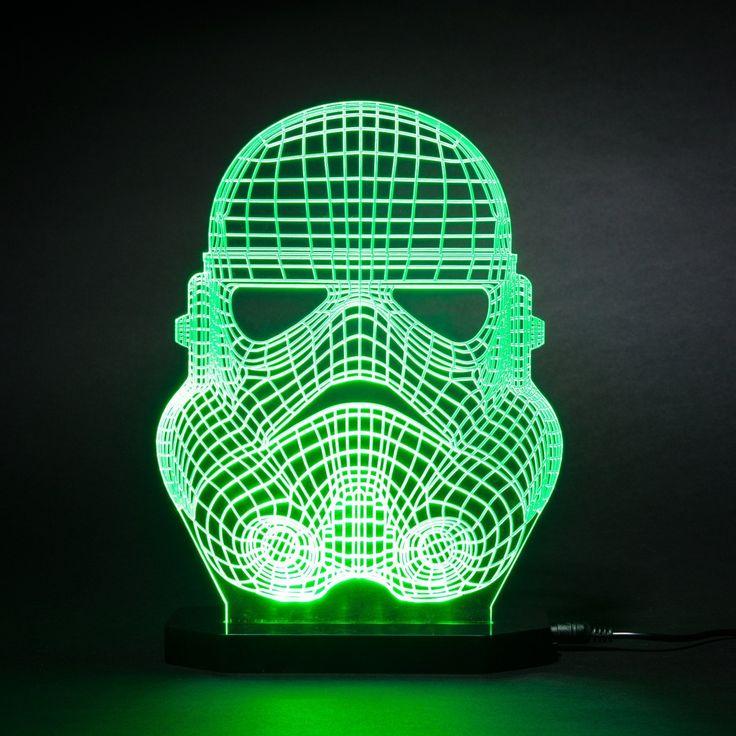 Refined Star Wars Stormtrooper Face Mask LED Desk Light *Multicolor Star Wars Stormtrooper LED Desk Light - $120.00* http://glowingwithme.com/refined-star-wars-stormtrooper-face-mask-led-desk-light #Star #Wars #Stormtrooper #Multicolor #LED #Desk #Table #Light #Lamp