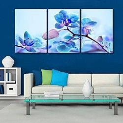 E-HOME® Stretched Canvas Art Blue Flowers Decoration Painting Set of 3 | LightInTheBox