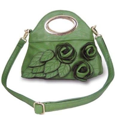 Rosette Clutch Handbag (Green),