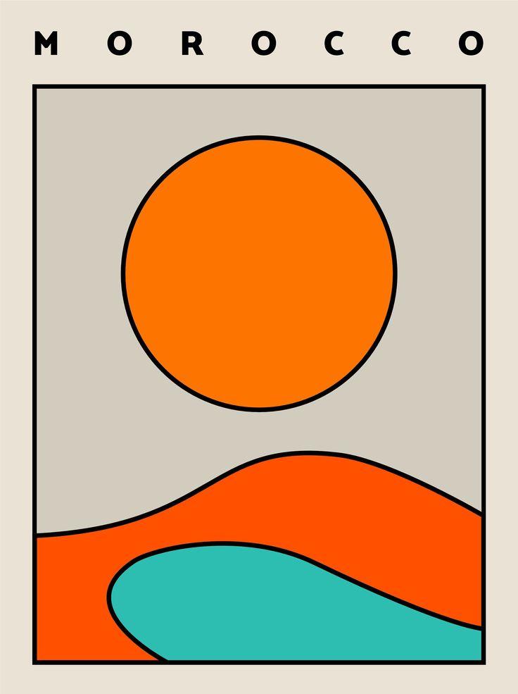 Journey Morocco Print, Geometric Wall Artwork, Paint Splatter Artwork, House Decor, Geomet…