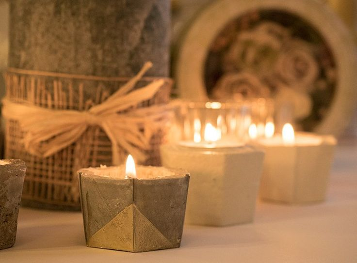 DIY how to make concrete candle holder #concrete #candle #candleholders #diy