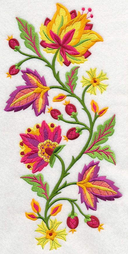 Embroidered Jacobean blazing blooms spray quilt block,jacobean fabric,embroidery