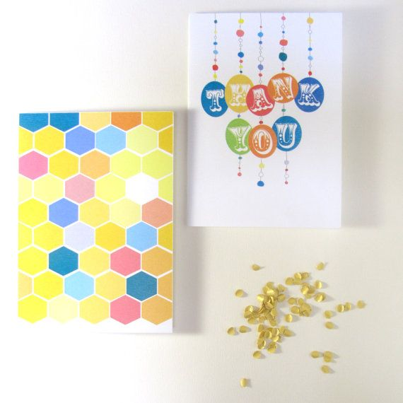 Greeting Card Set  Thank you & Honeycomb turned by SchwarzieTM, $12.00