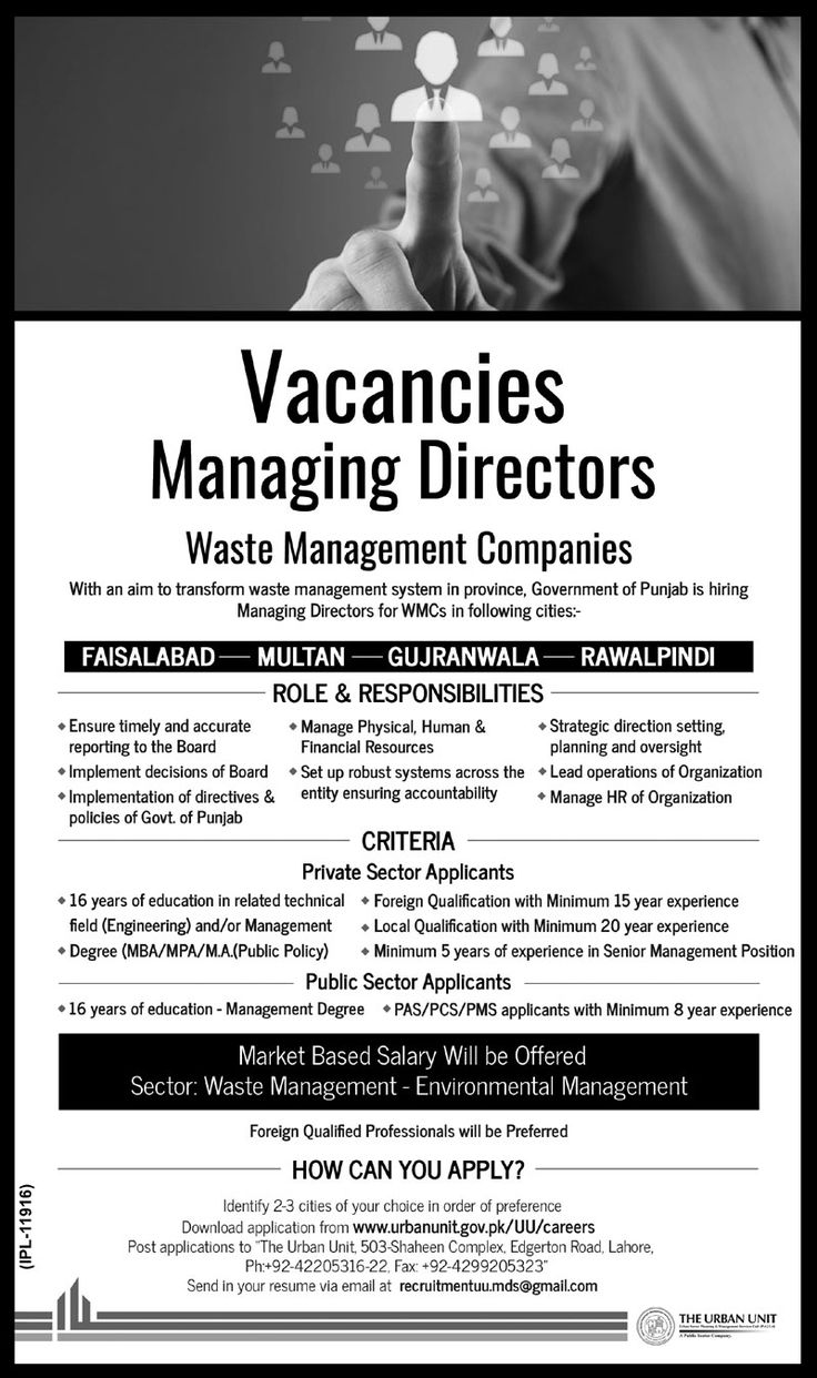 Waste Management Companies Latest Jobs Download Application Form http://ift.tt/2eOeTTW   Waste Management Companies  Last Date:  Within 15 Days  Location:  Faisalabad Multan Gujranwala   Rawalpindi  Posted on:  10 Sept 2017  Category:  Government  Organization:  Waste Management Companies  Website/Email:  www.urbanunit.gov.pk  No. of Vacancies  N/A  Education required:  Masters  How to Apply:  By Post  Vacant Positions:  Managing Directors  Postal Address: The Urban Unit 503-Shaheen Complex…
