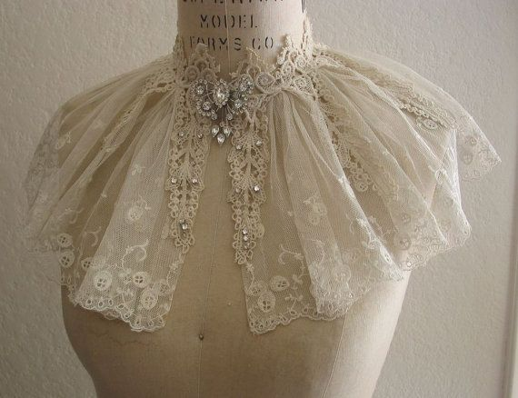 Vintage Lace Collar Capelet Wedding Dress by lacesparklevintage