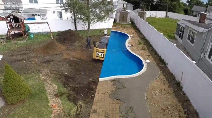Bau eines Swimming Pools im Zeitraffer Lieferung und