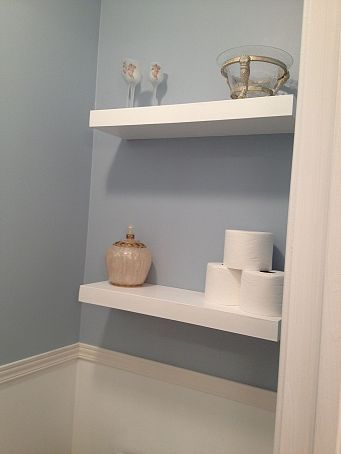 Floating shelves bathroom, this is actually exactly what I need in our bathroom.