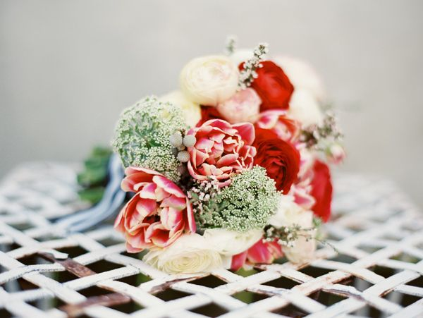 Red, Pink, and Queen Anne's Lace Bridal Bouquet by Janie Medley