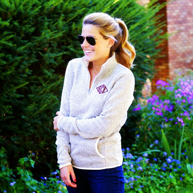 perfect monogrammed fleece pullover