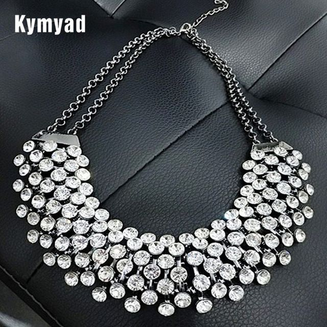 Big Sale $5.86, Buy Kymyad Collier Femme Trendy Crystal Statement Necklaces Pendants Women Jewelry Multilayer Link Chain Necklace Bijoux Colares