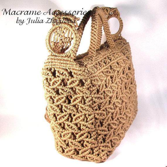 Macrame Bag Dance Of Leaves woman beige lace braided por makrame, $145,00