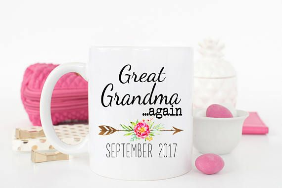 Grandma AGAIN Mug, New Grandma mug, Gift for new grandma, Grandma AGAIN Coffee Mug, Pregnancy Reveal, Gift for mom, Baby Announcement, Great Grandma AGAIN Mug, New Great Grandma mug, Gift for new Great grandma, Great Grandma AGAIN Coffee Mug, Pregnancy Reveal, Gift for mom  Mug Product Details: 1. Choose from two sizes: 11 oz or 15 oz White high-fired ceramic mug 2. Microwave and Dishwasher safe (top rack only) - easy to reheat; easy to clean 3. Images are printed on BOTH sides (lefty or…