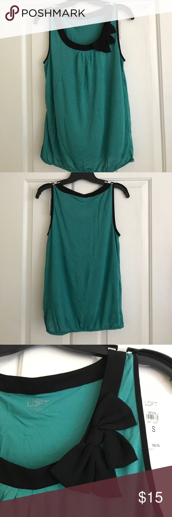 LOFT teal & black bow tank top Brand New - The LOFT teal and black lining with bow tank top and elastic hip waist. Size Small. Retailed $36.99 LOFT Tops Tank Tops