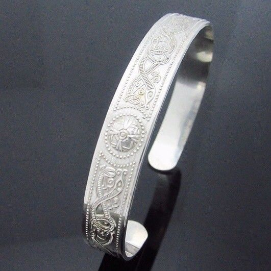 Unisex Celtic Warrior Shield Bangle. Made in Ireland exclusively available from Celtic Ice Jewelry.