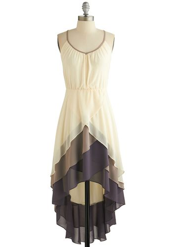 Cheers for Tiers Dress - Cream, Purple, Tan / Cream, Solid, Tiered, Daytime Party, High-Low Hem, Spaghetti Straps, Scoop, Mid-length, Chiffo...