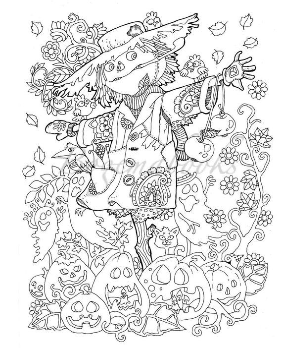 Halloween Adult Coloring Book Pdf Digital Pages For Stress