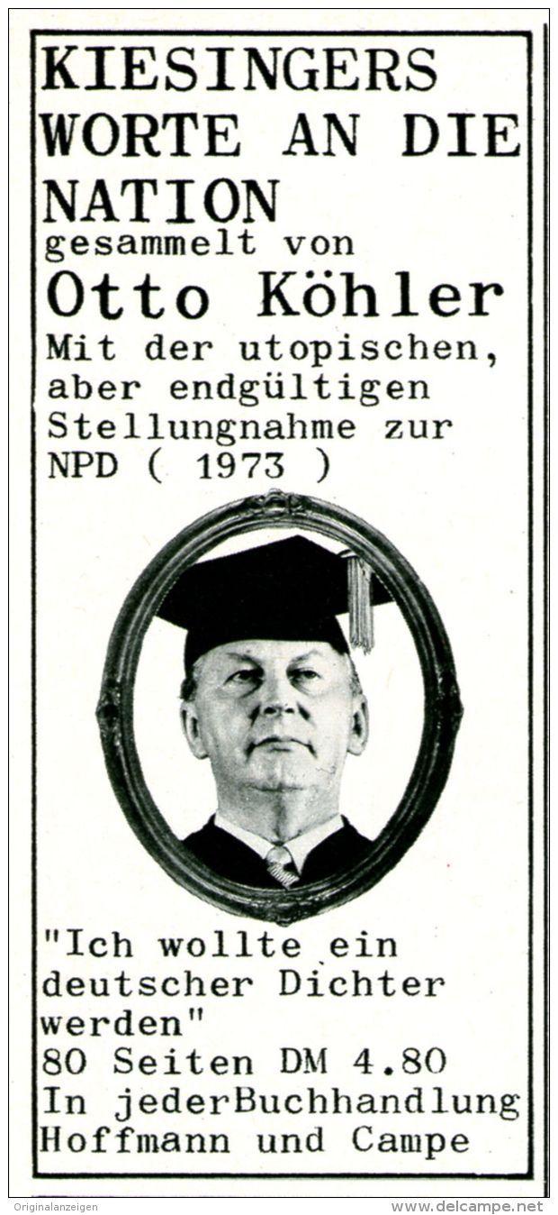 Original-Werbung/ Anzeige 1969 - KÖHLER : KIESINGERS WORTE AN DIE NATION / KURT GEORG KIESINGER - ca. 55 x 115 mm