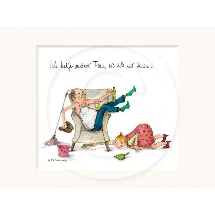 deko-unlimited.de Hochwertiges Passepartout-Bild 24 x 30cm – lustige Illustration mitten aus dem Leben gegriffen von Barbara Freundlieb